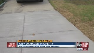 Download City workers leave a mess after water pipe break Video