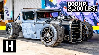 Download 800hp Coyote Powered Hot Rod... on LeMans Wheels?? Mike Burroughs Ford Model A truck Video