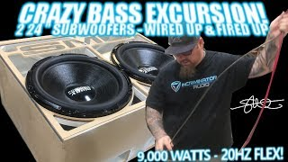 Download The ″Skelator″ Box Wired up & Fired up - Two 24″ Subwoofers CRAZY BASS EXCURSION 20Hz FLEX! video 6 Video