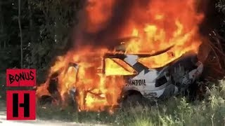 Download FIRE!!! Ken Block's Racecar Burns to a Crisp - RAW In-Car Roll and Fire Video