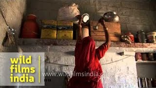 Download Rajasthani woman lives the rural life in Rajasthan Video