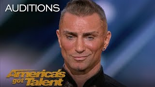 Download Aaron Crow: Pours Hot Wax On Eyes And Swings Sword At Howie Mandel - America's Got Talent 2018 Video