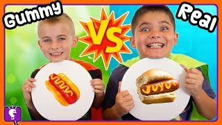 Download TINY GUMMY vs REAL! Who Wins The HobbyHeroes Challenge with HobbyKidsTV Video