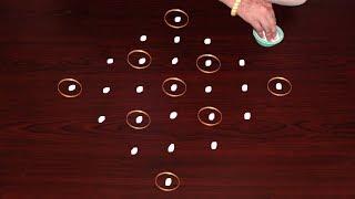 Download Blindling Rangoli Using Bangles 7X1 Dots | Very Creative Freehand Muggulu | Rangoli Designs Video