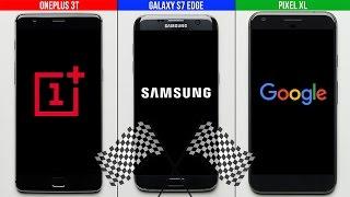 Download OnePlus 3T vs. Galaxy S7 Edge vs. Google Pixel XL Speed Test Video