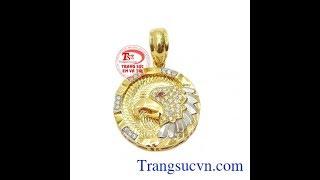 Download Mặt chim ưng dũng mãnh vàng 10k, mặt dây chuyền vàng tây, TSVN019794 Video