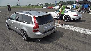 Download 500HP Volvo V50 T5 vs 720HP Porsche 991 Turbo S vs 740HP BMW M4 F82 Video