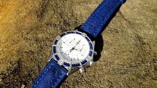Download SecTime UK Ostrich Leather AMSTERDAM BLUE Watch Strap on a Breitling Video