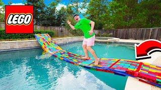 Download BUILDING A 50FT LEGO BRIDGE ACROSS MY POOL! Video