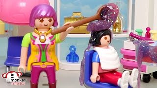 Download Playmobil Becky's Beauty Salon - Busy Day! Ricardo Family Hair Cuts! Video