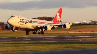 Download Cargolux Boeing 747-8F Stunning Sunset Landing at Prestwick Airport Video