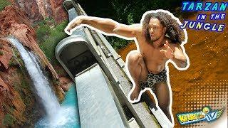 Download WATERFALL vs. TARZAN!! JUNGLE MONKEY MAN TAKES A BATH 4 Bananas    KIDDin Me TV Video