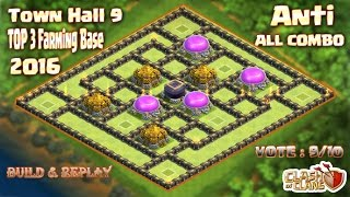 Download Th9 Top 3 Farming base 2016.Best Farming base Town hall 9 Clash of clans (Coc) Video