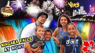 Download NIAGARA FALLS AT NIGHT! Family Trip CANADA pt. 1 - Waterfall Lights (FUNnel Vision Vlog) Video