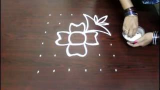 Download flower kolam designs with 6x6 dots- chukkala muggulu designs with dots- simple rangoli designs Video