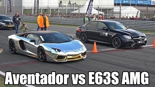 Download Mercedes-AMG E63S Sedan vs Ferrari F12 vs Lamborghini Aventador Video