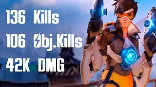 Download Overwatch Tracer 136 Kill Record! Competitive Gameplay w/ 30 Kill Streak Video