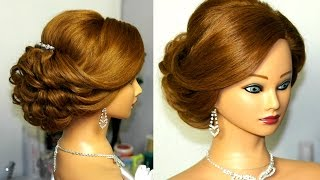 Download Bridal updo. Romantic hairstyle for medium hair. Video