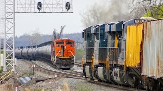 Download TWO K Trains, TWO Railroads, TWO Loads!! Railfanning April 15th at CP-3! Video