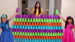Download Emma & Jannie Pretend Play Fun Stacking Giant Cup Wall Challenge Kids Toys Video