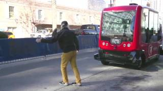 Download Test ride the EZ10 driverless robot shuttle bus in New Orleans Video