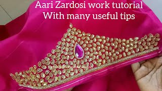 Download Aari/ Maggam work| Making of heavy work with Zardosi, Kundan stones| aari work on sleeves Video