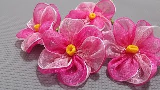 Download Kurdele oyaları Pembe menekşe çiçeği-How to make a pink violet flower from a ribbon Video