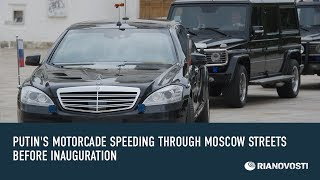 Download Putin's Motorcade Speeding through Moscow Streets before Inauguration Video