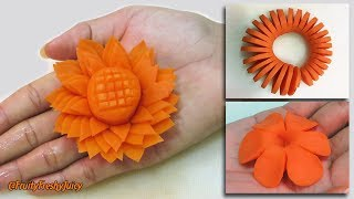 Download 3 Amazing Carrot Garnishes for Food Designs & Decorations   Champey, Sunflower & Spiral Carving Video