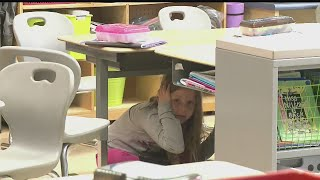 Download Brookfield students practice earthquake drills in the classroom Video