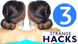 Download ★ 3 WEIRD HAIR HACKS | Girls CUTE HAIRSTYLES Video