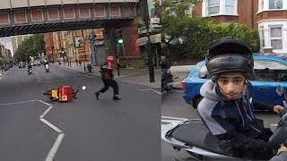 Download 'Suspected Moped Thief' crashes into pizza delivery man CHASE London Video