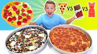 Download Giant Gummy Food Pizza vs Giant Real Food Pizza vs Giant Chocolate Candy Pizza FOOD CHALLENGE! Video