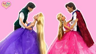 Download Rapunzel Elsa Barbie Castle One Morning-Princess dolls Ball Dance Putri Barbie Kastil Festa de dança Video