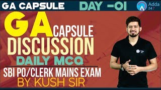 Download SBI PO/CLERK,BOB,NIACL,RBI | GA Capsule Discussion Day 1 | Daily MCQ | Kush Sir Video