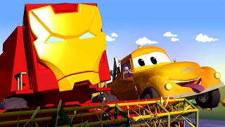 Download Harvey the HARVESTER is IRON MAN from the Avengers! Tom's Paint Shop in Car City Cartoons for Kids Video