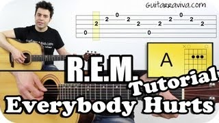 Download Como tocar REM Everybody Hurts en guitarra acústica o criolla tutorial Video