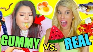 Download Gummy Food vs. Real Food Challenge! *GONE WRONG I ALMOST DIED* Video