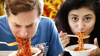 Download People Try The Fire Noodle Challenge Video