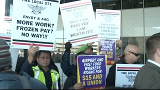 Download Chicago O'Hare Airport Workers Strike for Higher Wages Video
