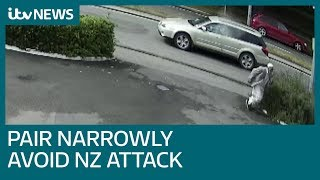 Download Christchurch CCTV shows late father and son making narrow escape from NZ gunman | ITV News Video