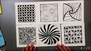 Easy Zentangle Doodles - How to Make12 Extra Patterns - Step by Step