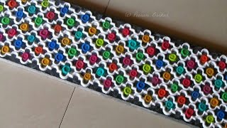 Download Beautiful multicolored lacy border rangoli design | Innovative rangoli designs by Poonam Borkar Video