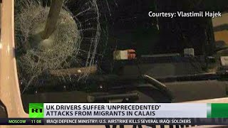 Download 'Like a warzone': UK drivers suffering refugees' angry attacks in Calais Video