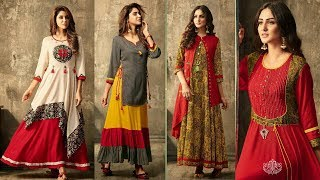 Download Designer Long Kurti/Dresses | Stylish Fancy Embroidered Double Layer Kurti For women's|Trendy India1 Video