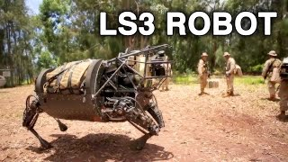 Download LS3 Robot Patrols With Marines, Comes Under Simulated Mortar Attack Video