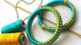 Download How to make silk thread bangles with gold drop chain # multi color threads Video
