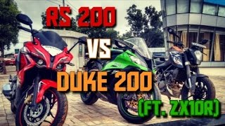 Download PULSAR RS 200 vs KTM Duke 200 on HIGHWAY + KAWASAKI ZX10R FUN (LOUD EXHAUST) Video