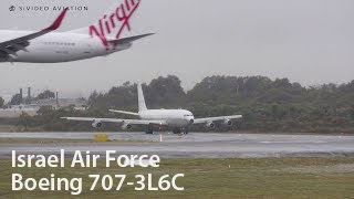 Download 707 Retro ROAR!! Israel Air Force Boeing 707-3L6C with JT3D-7 engines departing Perth Airport. Video