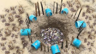 Download Amazing Clever Boy Using a lot of PVC Pipe for Crab trap by Digging Hole in Khmer Video